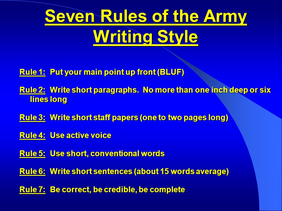 army writing style guide Personnel-general effective writing for army leaders summary of change da pam 600-67 effective writing for army leaders this pamphlet provides staff writing standards and guidelines to army leaders,writing and speaking skills for army leaders • chapter 1reviews the army standard, the principles of good writing, and the process of.