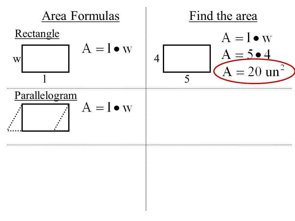 What is a variable a variable represents an unknown value ppt 7 area formulas find the area rectangle w 4 l 5 parallelogram ccuart Image collections
