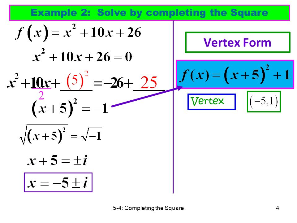 Completing the square and vertex form of a quadratic ppt download 4 vertex form example 2 solve by completing the square vertex ccuart Choice Image