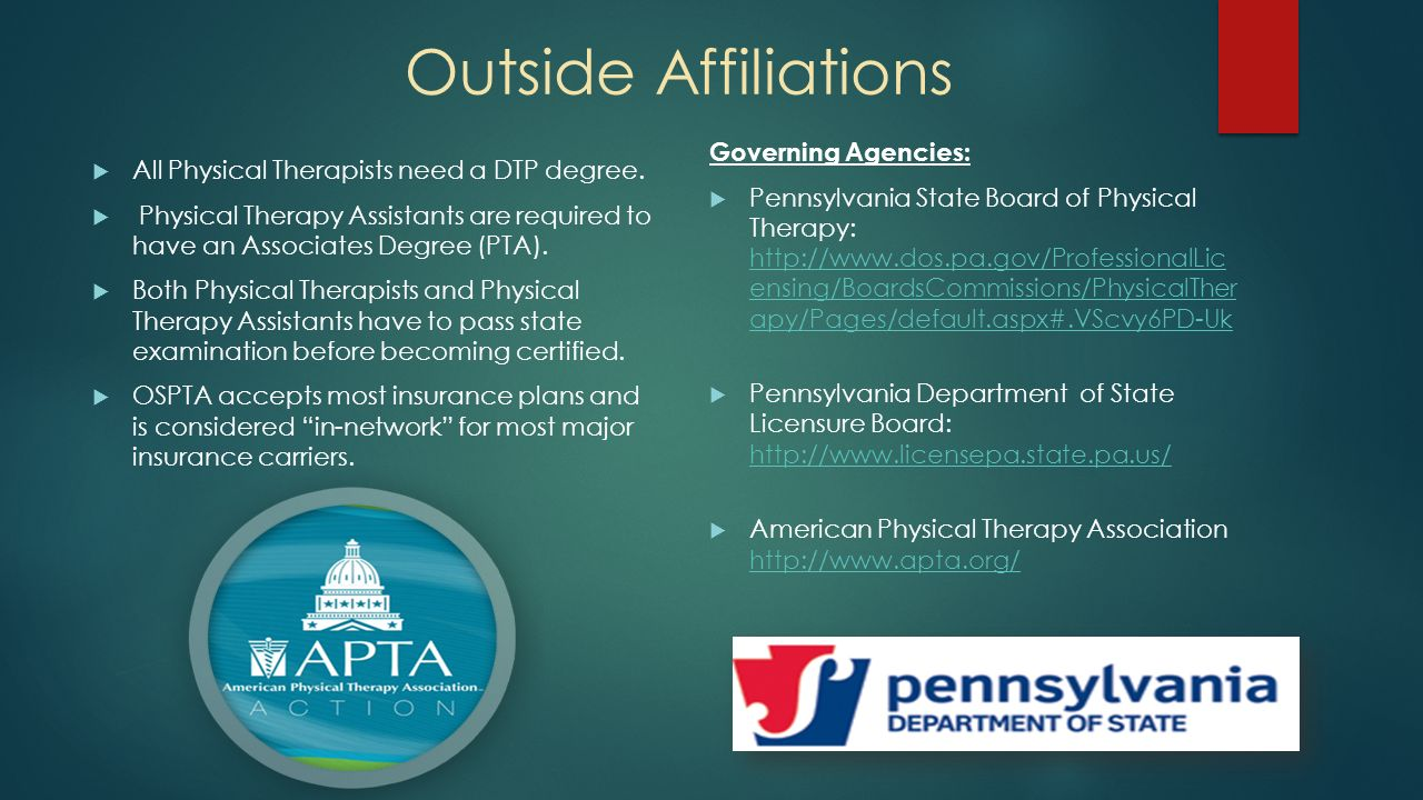 Board nc physical therapy - 5 Outside Affiliations Governing Agencies Pennsylvania State Board Of Physical Therapy