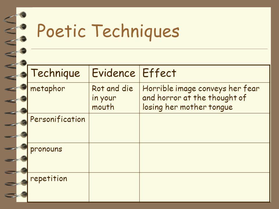 Poetic Techniques Technique Evidence Effect metaphor
