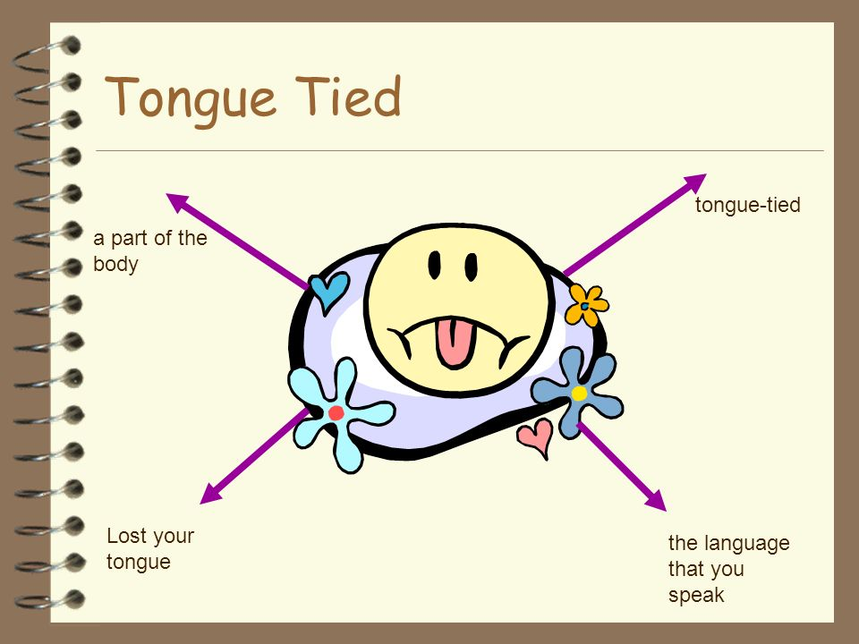 Tongue Tied tongue-tied a part of the body Lost your tongue