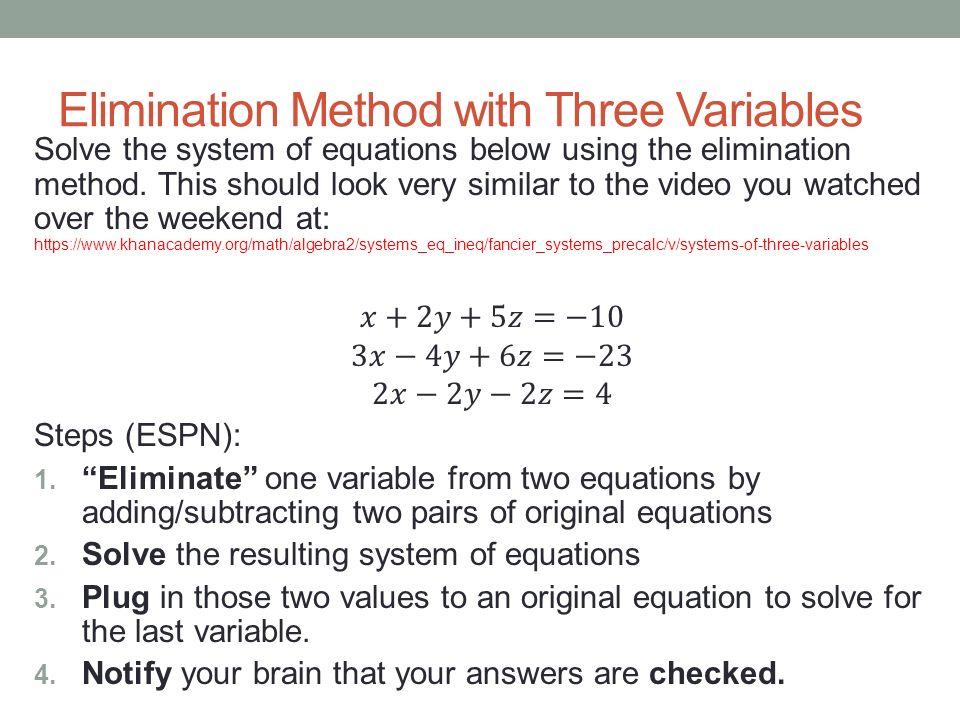 Substitution and elimination method worksheet