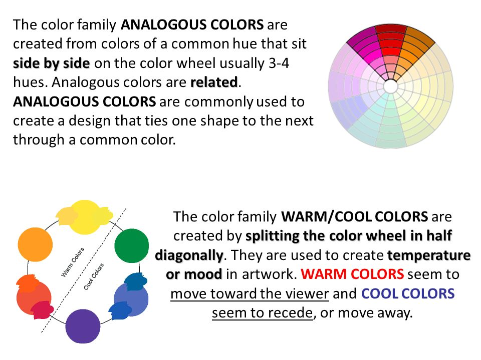 The Color Family ANALOGOUS COLORS Are Created From Colors Of A Common Hue That Sit Side