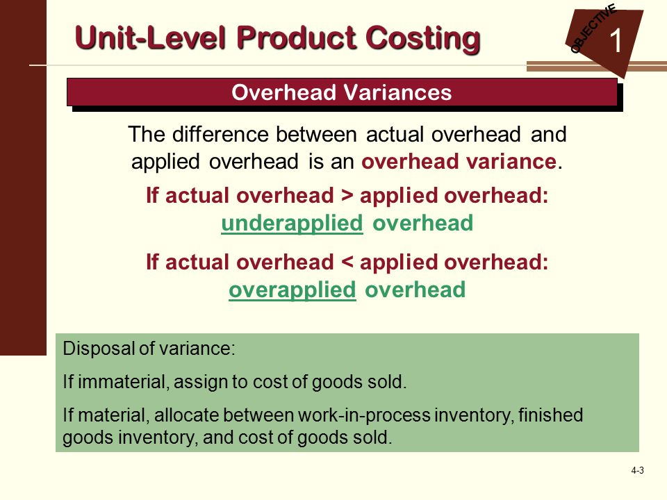 unit level and multiple level costing