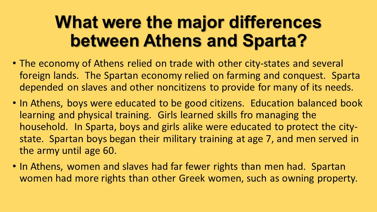 athens and sparta comparison Athens and sparta, both powerful greek city-states, had fought as allies in the greco-persian wars between 499 and 449 bc in the wake of the persian retreat, however, athens grew more powerful.