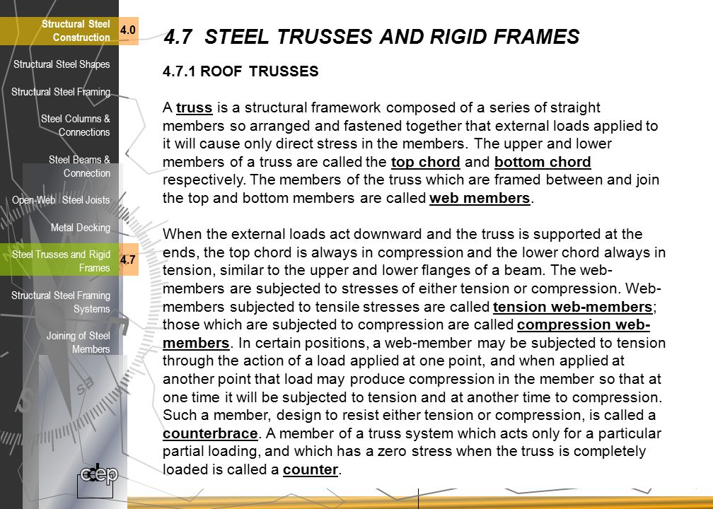 4.7 STEEL TRUSSES AND RIGID FRAMES