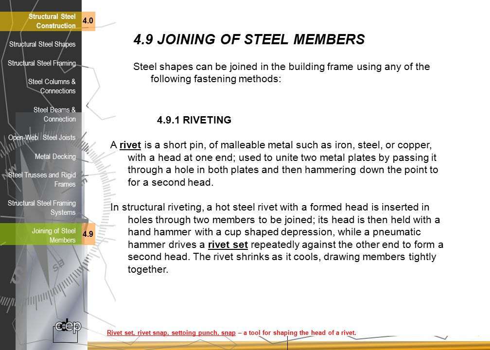 4.9 JOINING OF STEEL MEMBERS