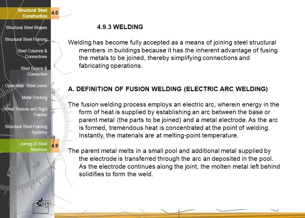A. DEFINITION OF FUSION WELDING (ELECTRIC ARC WELDING)