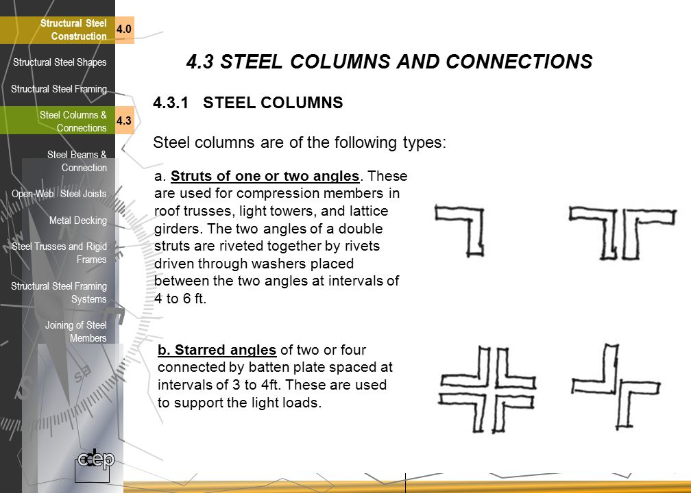 4.3 STEEL COLUMNS AND CONNECTIONS