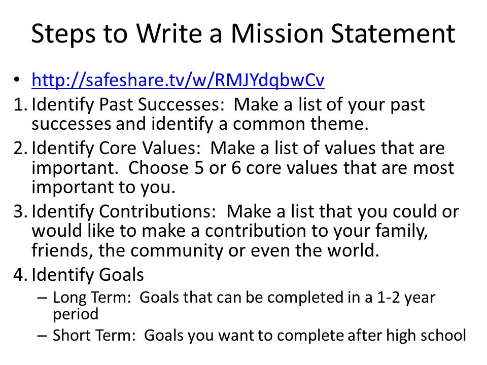 How Write Family Mission Statement Mission Statements