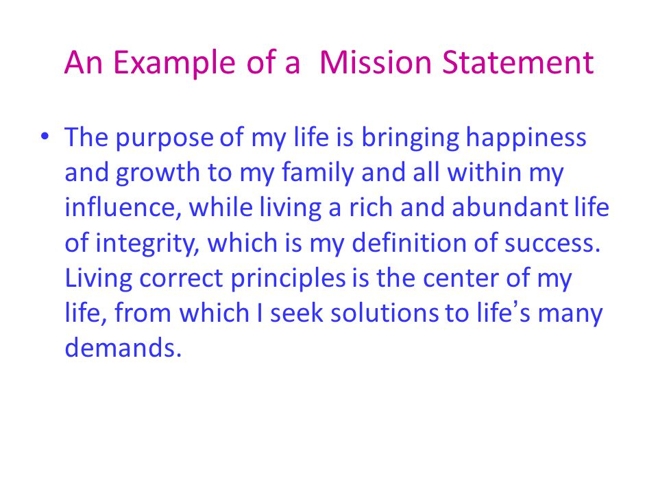personal mission statement examples for work