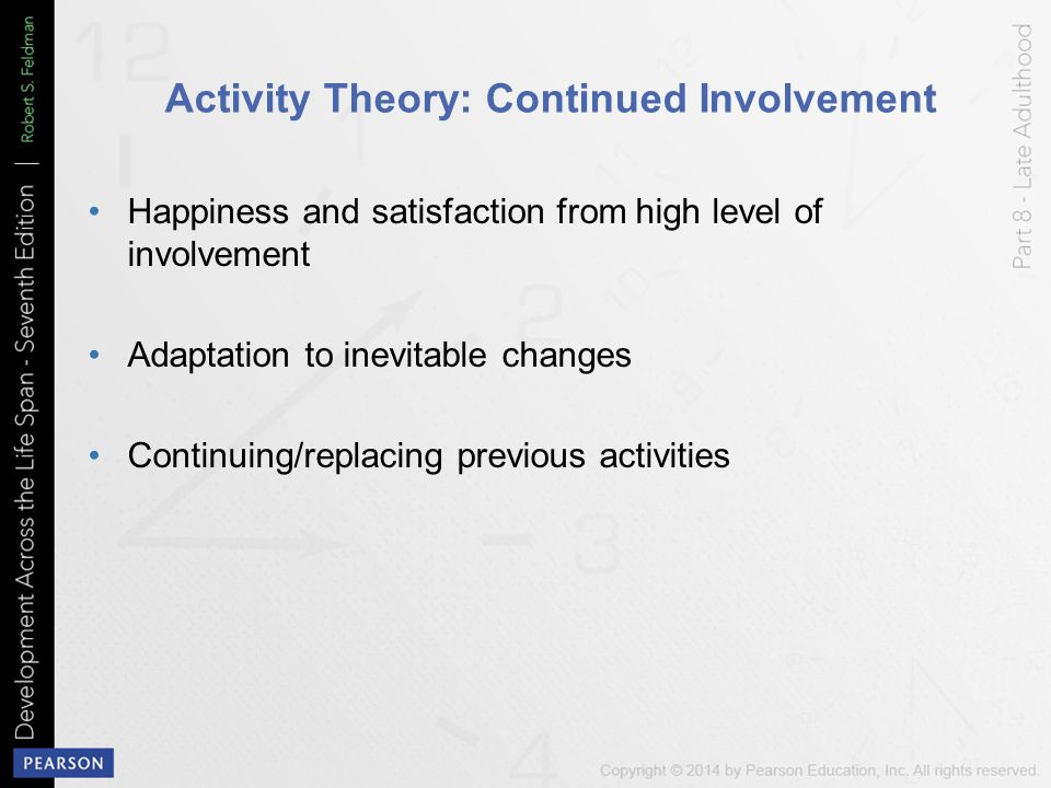 compare disengagement activity theory During the ageing process, the elderly can belong to either the activity theory or the disengagement theory there are many services that can help the elderly to age in the way they wish.