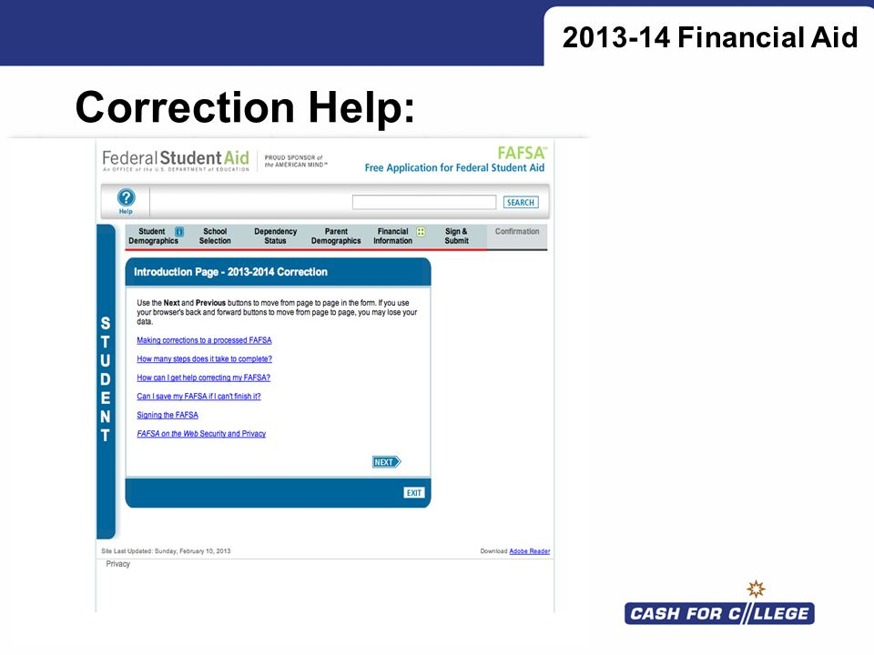 2013-14 Financial Aid Correction Help:
