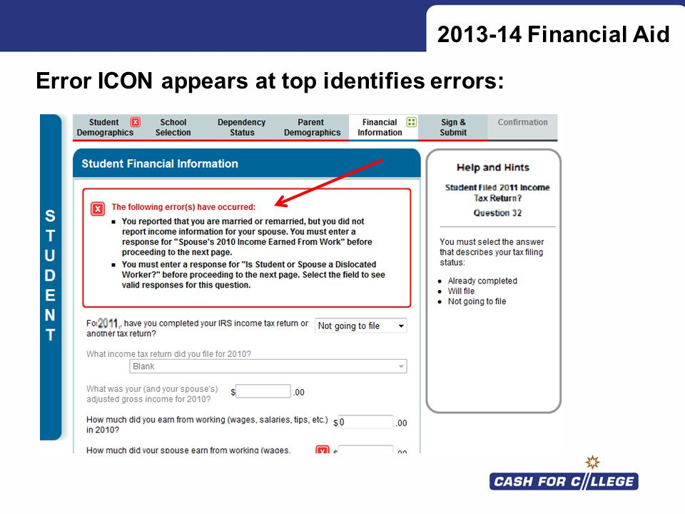 2013-14 Financial Aid Error ICON appears at top identifies errors: