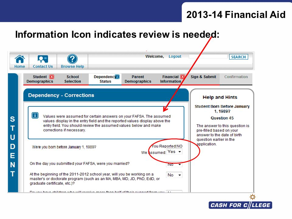 2013-14 Financial Aid Information Icon indicates review is needed: