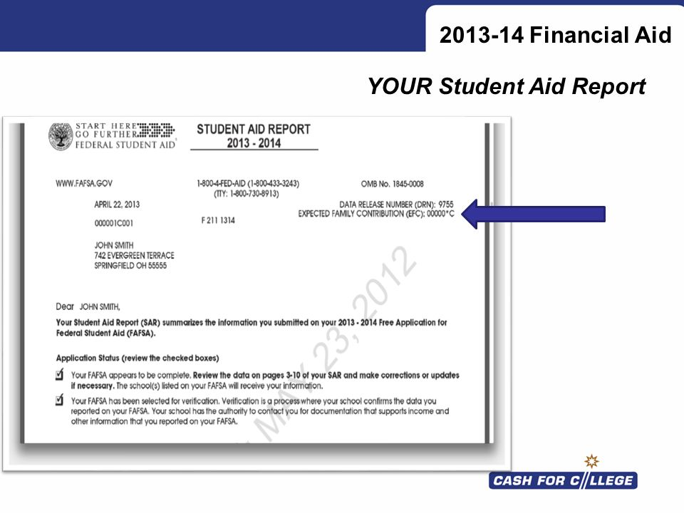 2013-14 Financial Aid YOUR Student Aid Report