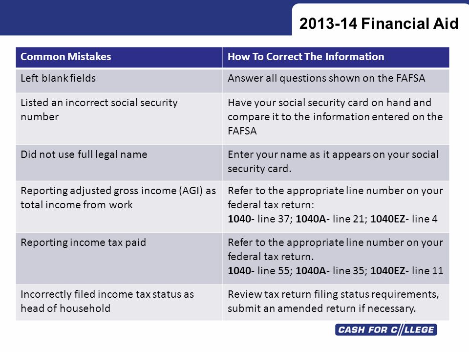 2013-14 Financial Aid Common Mistakes How To Correct The Information