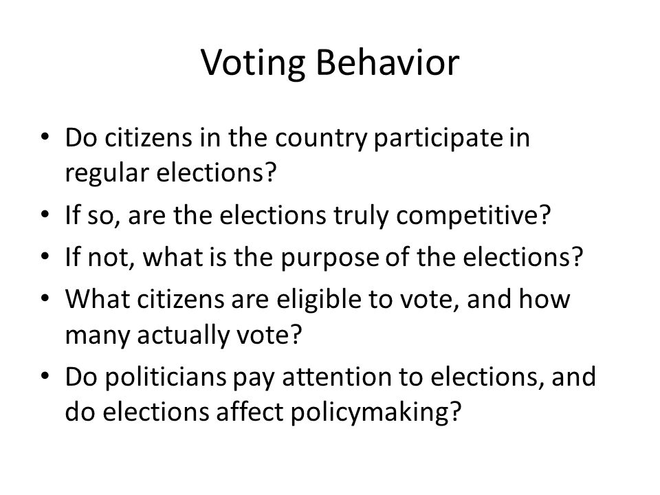 Voting behaviour in America