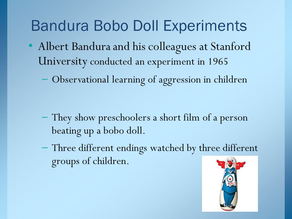 """psychology bobo doll experiment [pictured above] is a """"bobo doll"""" used in albert bandura's experiment findings  from the study revealed evidence that supported his."""