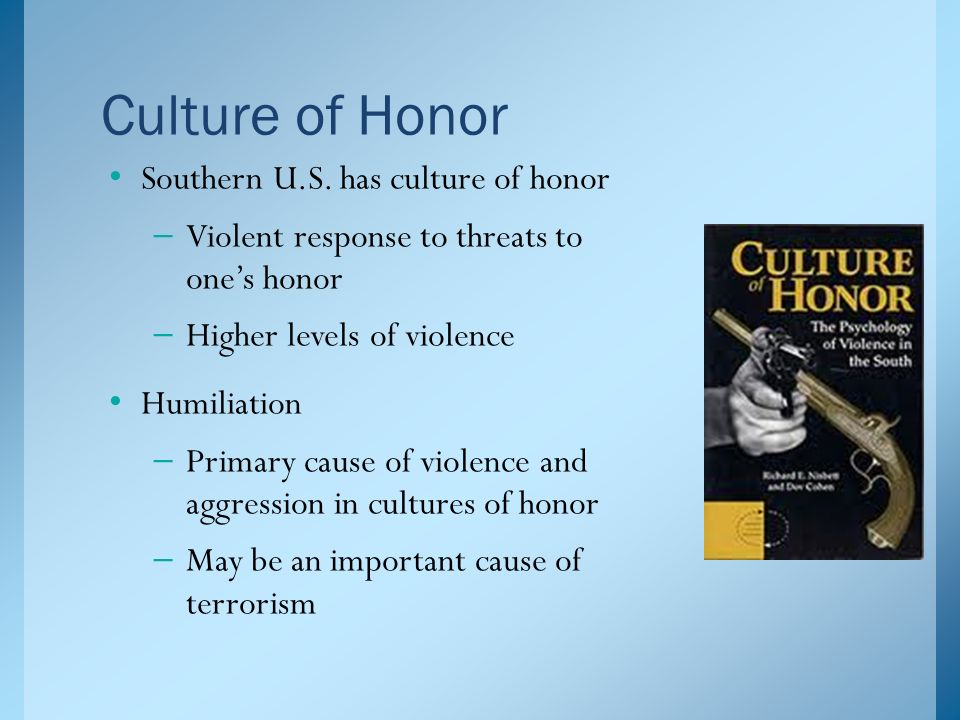 southern culture of violence thesis Scholars have tested the culture of violence thesis using statistics on all homicides literature on the southern culture of violence and refine this approach to.