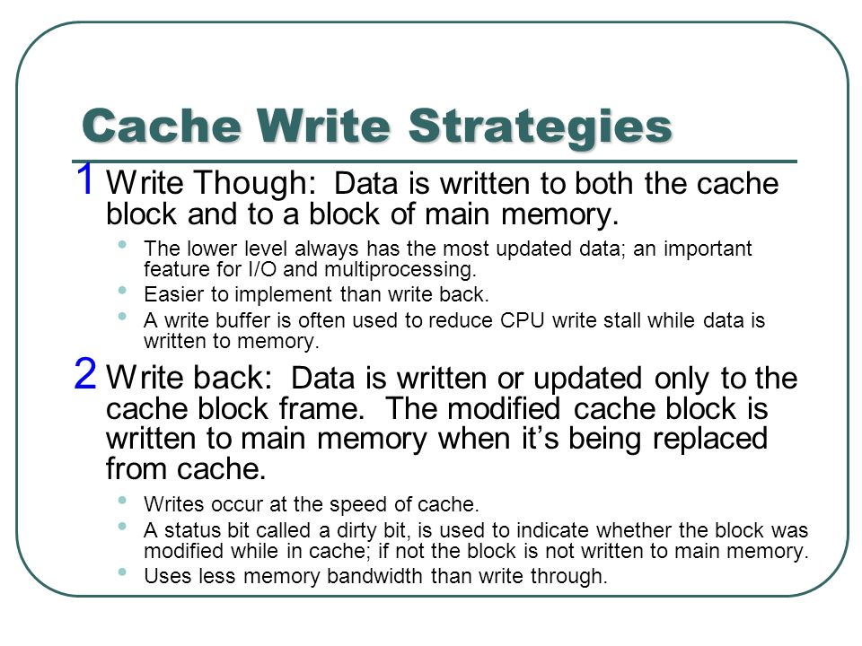 write cache Typically, enabling write caching (write-back on a perc) will give you a significant performance increase this comes at a cost of data reliability if the.