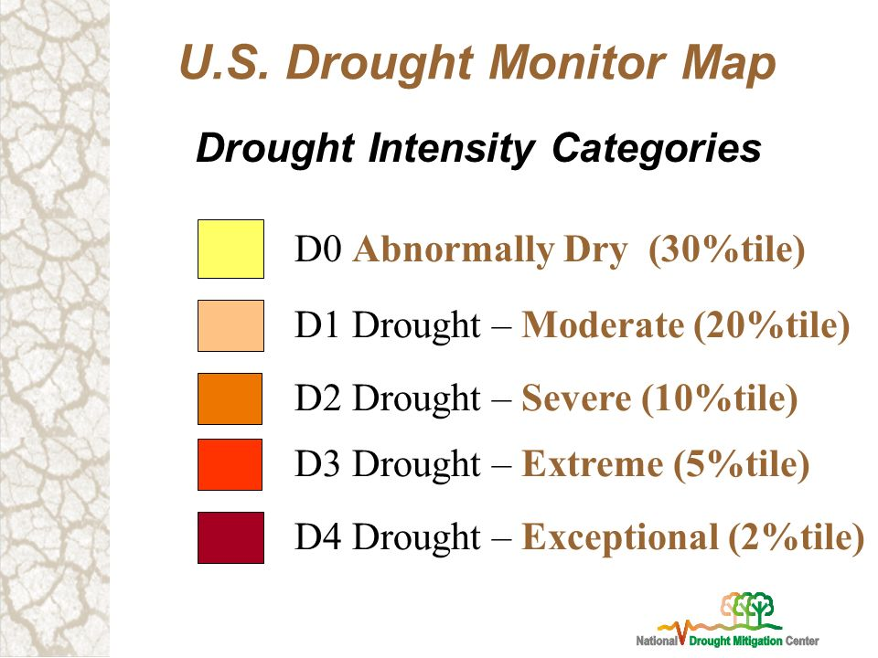 8 Drought Intensity Categories U S Drought Monitor Map