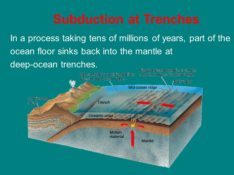 what is the relationship between trenches and seafloor spreading