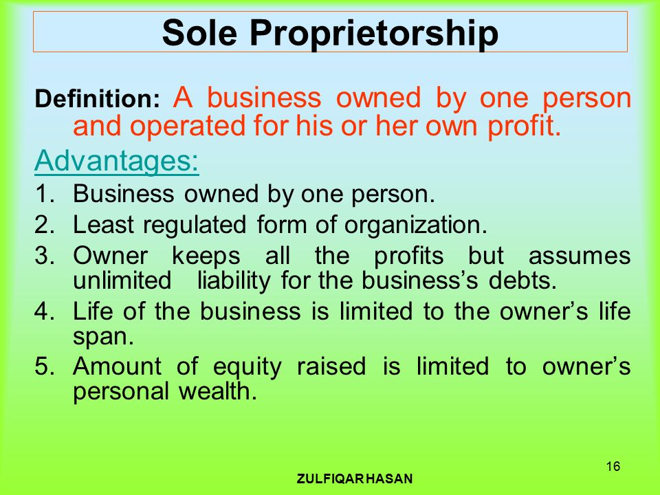 the sole proprietorship and partnership forms business essay When entrepreneurs establish a business, they must decide on the form of business ownership there are three basic forms of business ownership: sole proprietorship, partnership, and corporation the form that is chosen can affect the profitability, risk, and value of the firm.