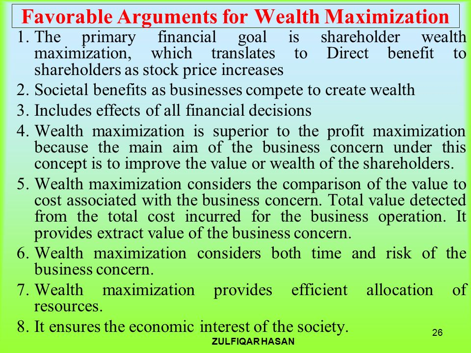 wealth maximization concepts Ch 1 terms and concepts study play goal of the firm shareholder wealth maximization in layman terms, maximizing shareholder wealth means maximizing the value of the firm, or maximizing.