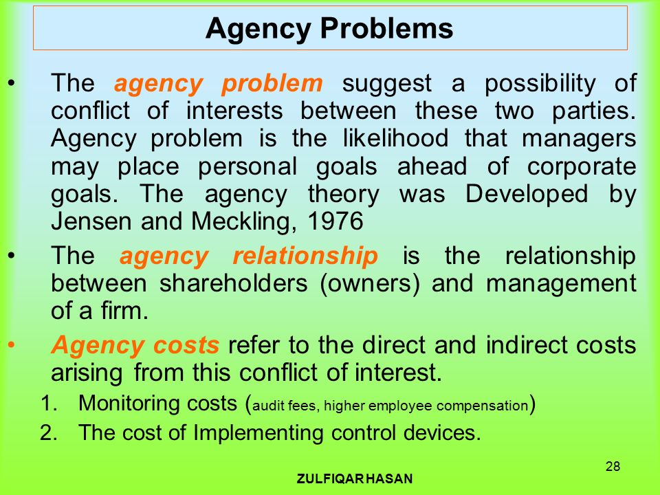 relationship between agency costs and problem definition