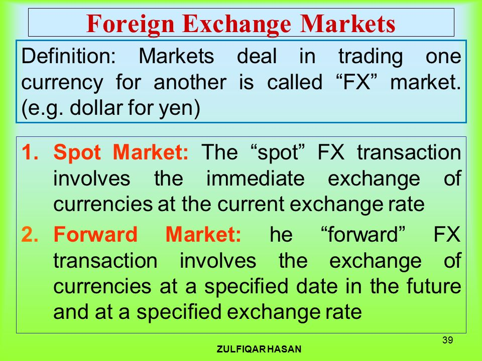 Forex exchange means