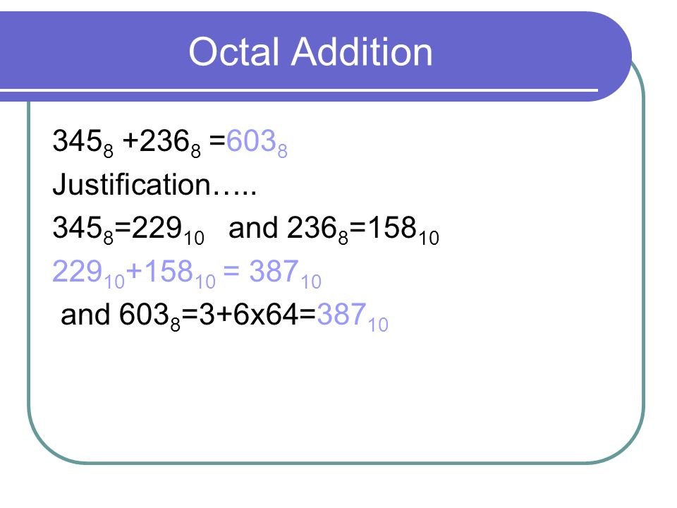 Octal Addition 3458 +2368 =6038 Justification…..