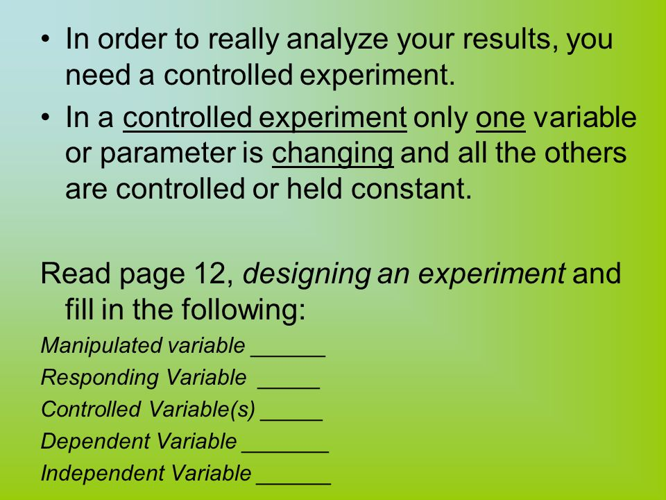 how to decide what the manipulated variable is