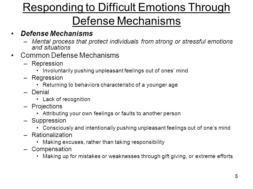 Responding to Difficult Emotions Through Defense Mechanisms
