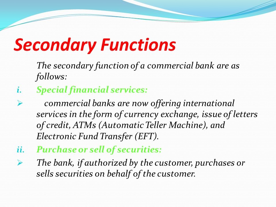 Secondary Functions Performed by the Commercial Banks in India