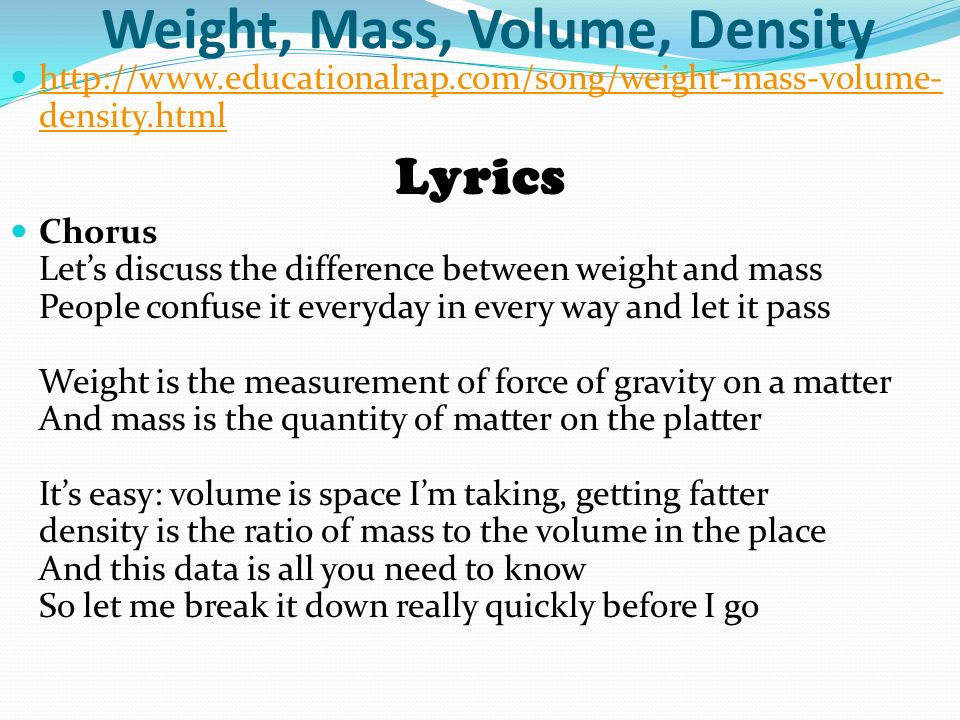 Lesson one introduction to weight mass and volume ppt for What is the difference between space and place