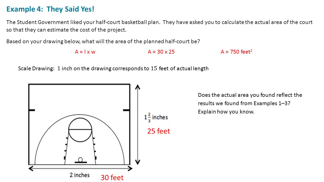 Classwork examples exploring area relationships 2 12 for How many square feet is a basketball court