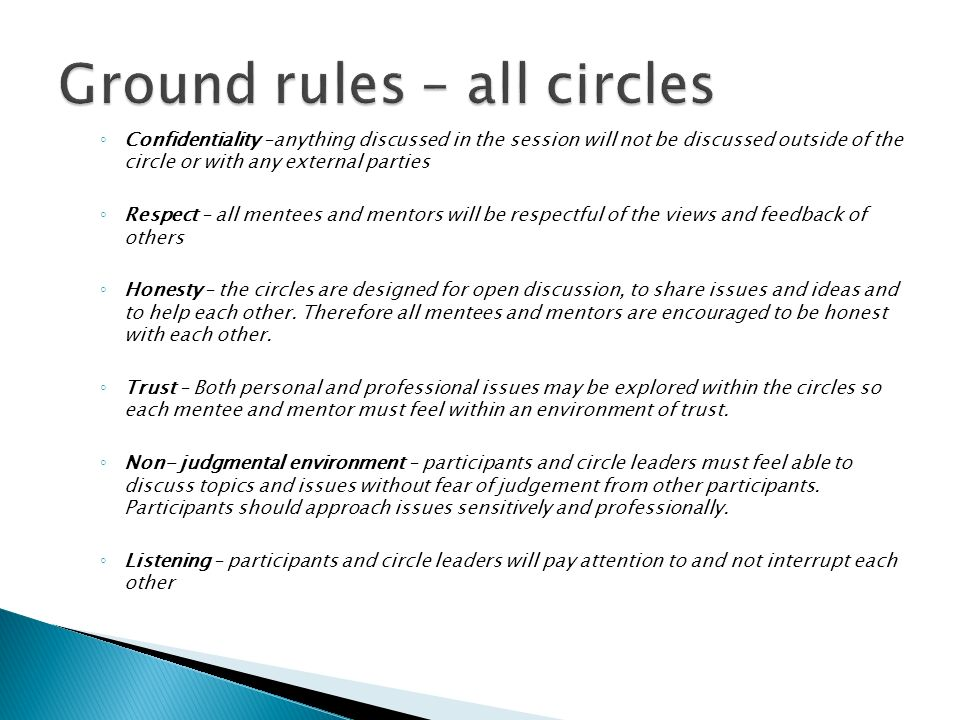Ground rules – all circles