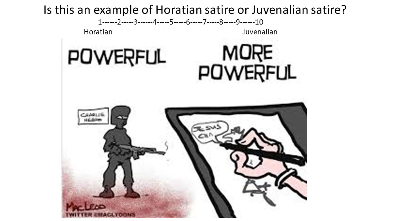 juvenalian satire example Satire the best satire types of satire: horatian or juvenalian horace (b 54 bc, d 8 bc) followed lucilius in using hexameters to ridicule folly and bad taste famous examples of this technique are gulliver's travels by jonathan swift and animal.