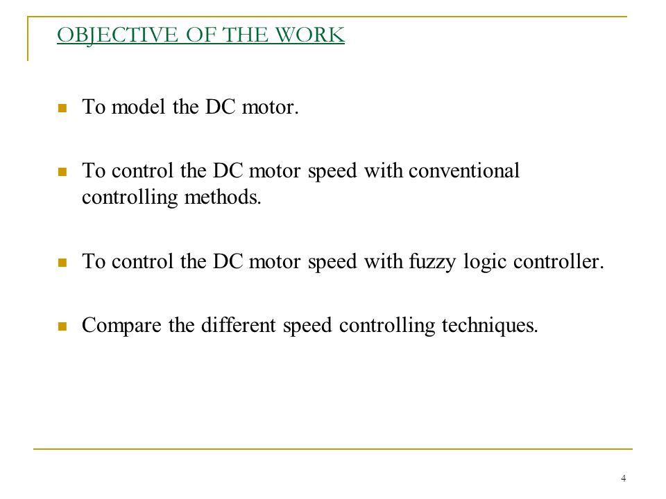 speed control of dc motor using fuzzy logic thesis The purpose of this project is to control the speed of dc motor by using fuzzy logic controller with matlab applications the scopes includes the simulation and modeling of dc motor, implementation of fuzzy logic controller to actual dc motor and comparison between matlab simulation and experimental result this research was about to introduce the new ability of estimating speed and control.