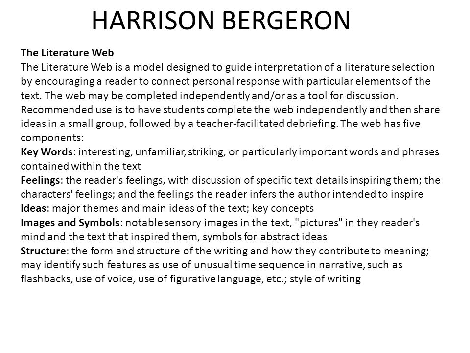 harrison bergeron personal response Harrison bergeron discussion questions  harrison is considered a threat to society because he is described as a beautiful man and a very intelligent one too 5.