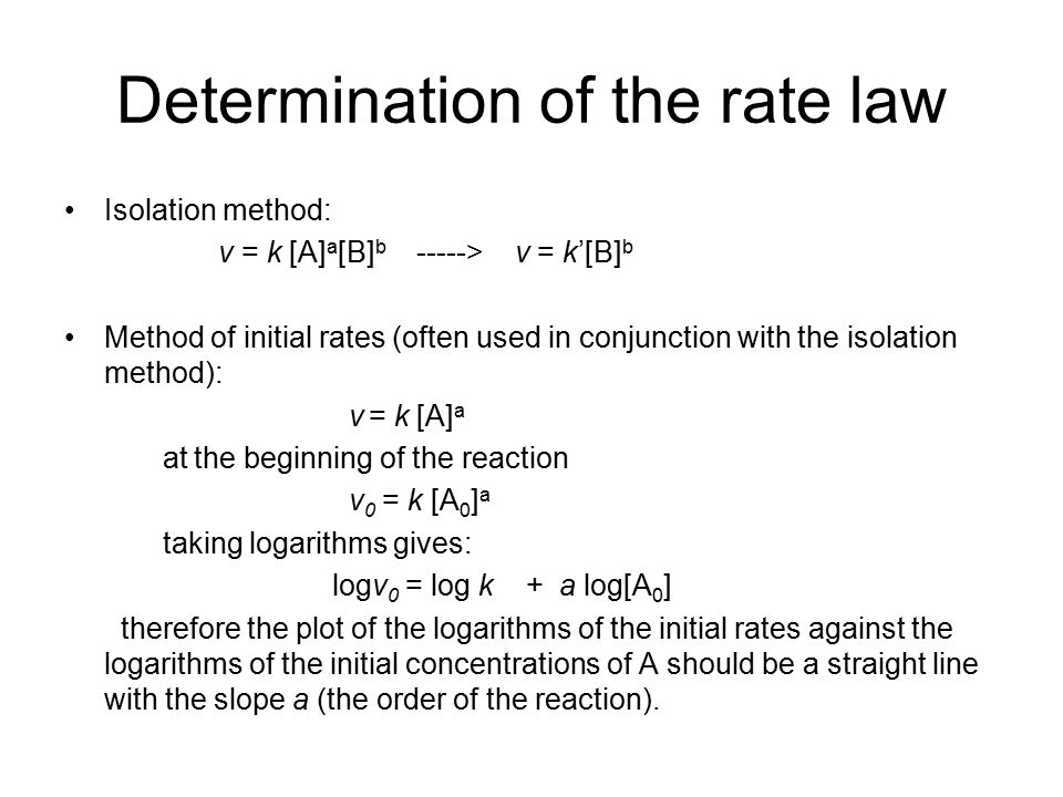determination of rate law 1 the rate law background: for most chemical reactions, changing the concentrations of the reactants will change the rate of the reaction the rate of a reaction is the change of concentration taking place.