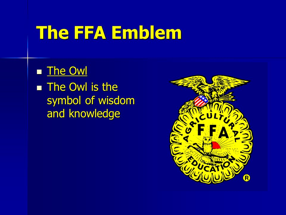 The FFA Emblem The Owl The Owl is the symbol of wisdom and knowledge