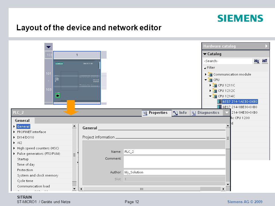 Layout of the device and network editor