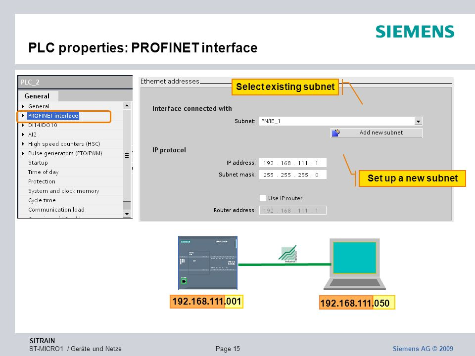 PLC properties: PROFINET interface