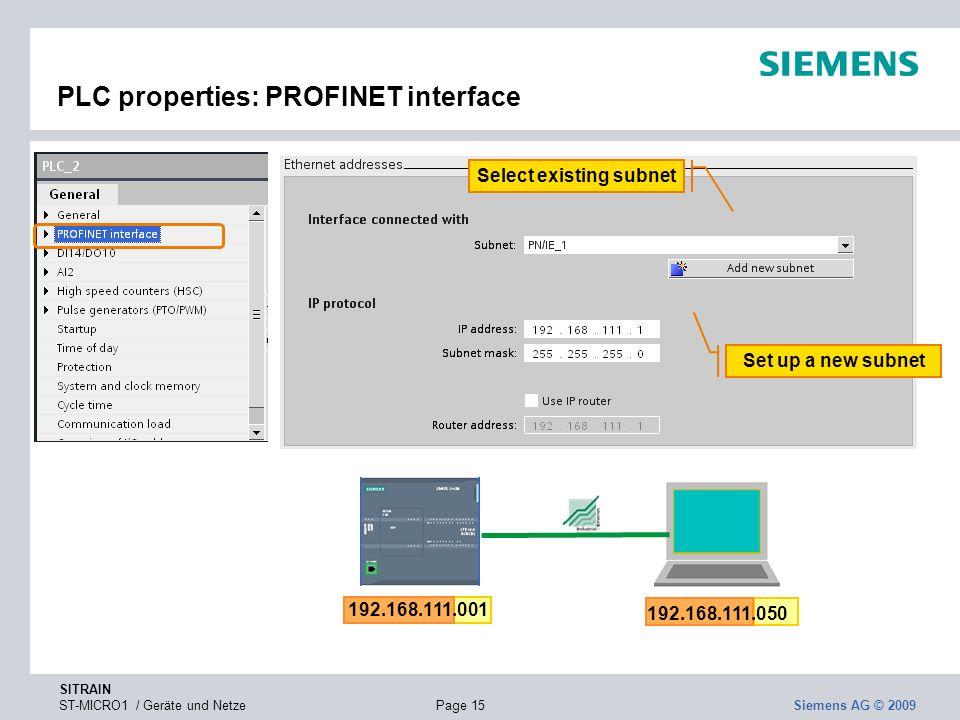 PLC properties: PROFINET interface