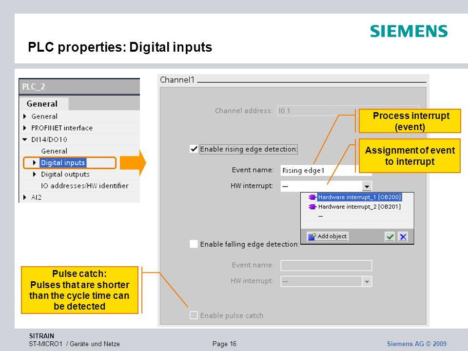 PLC properties: Digital inputs