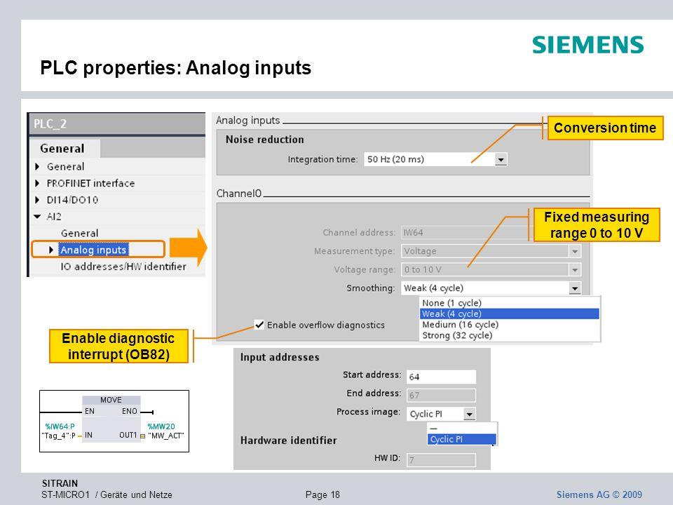 PLC properties: Analog inputs