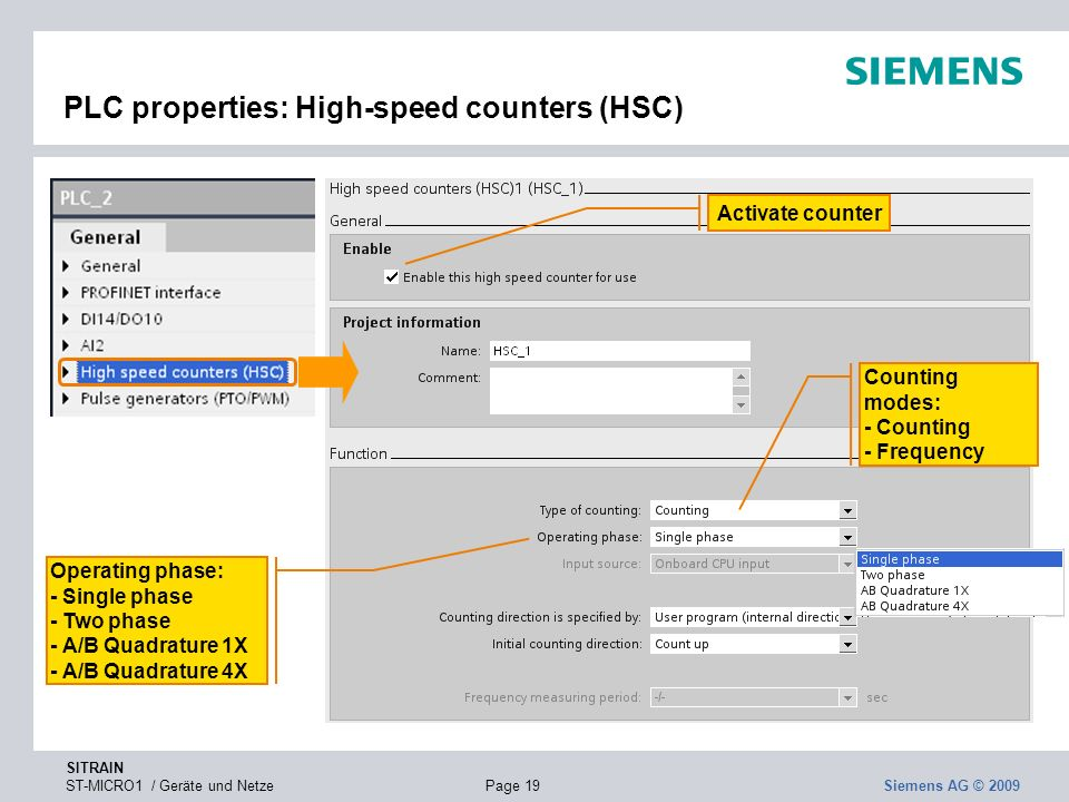 PLC properties: High-speed counters (HSC)